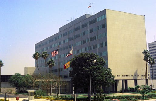 View of the former Parker Center building, which has been demolished and could be replaced in coming years. Image courtesy of Wikimedia user Tequask.