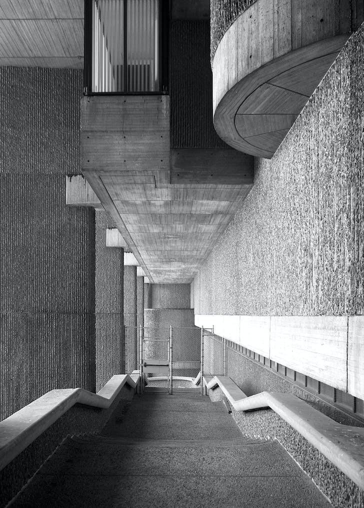 Paul Rudolph, underside of Erich Lindemann Mental Health Center (1971), 2015. Photo, Mark Pasnik.
