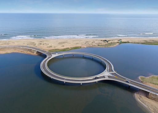 The design of the recently completed roundabout bridge in southeastern Uruguay wants drivers to slow down and take in the scenic views of the surrounding landscape. (Image: Rafael Viñoly Architects)