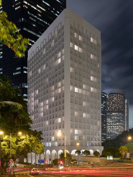 Exterior view of The Murray at night. Image: Nigel Young / Foster+Partners.
