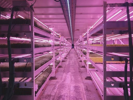"Locally grown down the z-axis: vertical farming inside converted London emergency infrastructure. Image via Growing Underground's <a href=""https://www.facebook.com/growingunderground/"">Facebook page</a>"