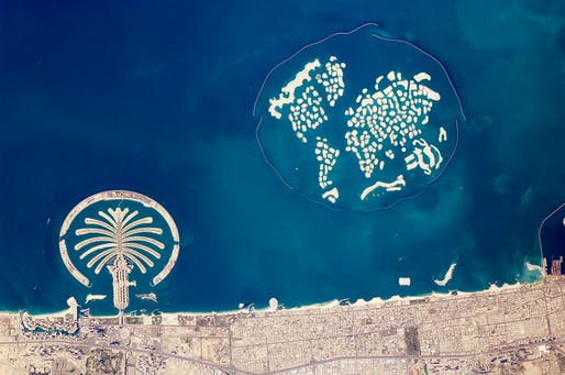Aerial view of Dubai's The World archipelago (adjacent to Palm Jumeira) in 2010.