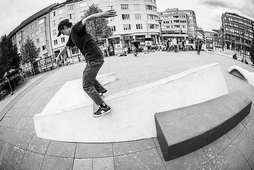 Alexis Sablone on a skateable sculpture she designed for a public square in Malmo, Sweden. Image courtesy Alexis Sablone.