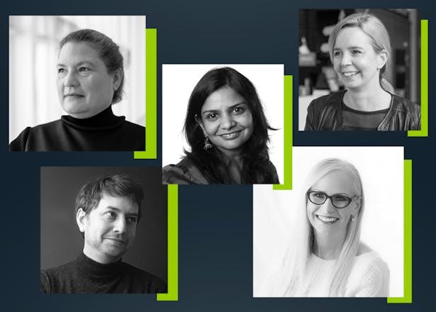Speakers for the 2020 Flash Symposium include, clockwise from upper left: Winifred Elysse Newman, Aradhana Goel, Katja Hölttä-Otto, Darla Lindberg and Dan Lockton.