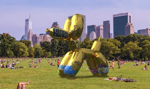 "In 2017, artist Sebastian Errazuriz digitally ""vandalized"" a geo-tagged AR public sculpture in Central Park developed by Snapchat in collaboration with Jeff Koons. Image: Sebastian Errazuriz, via failedarchitecture.com."