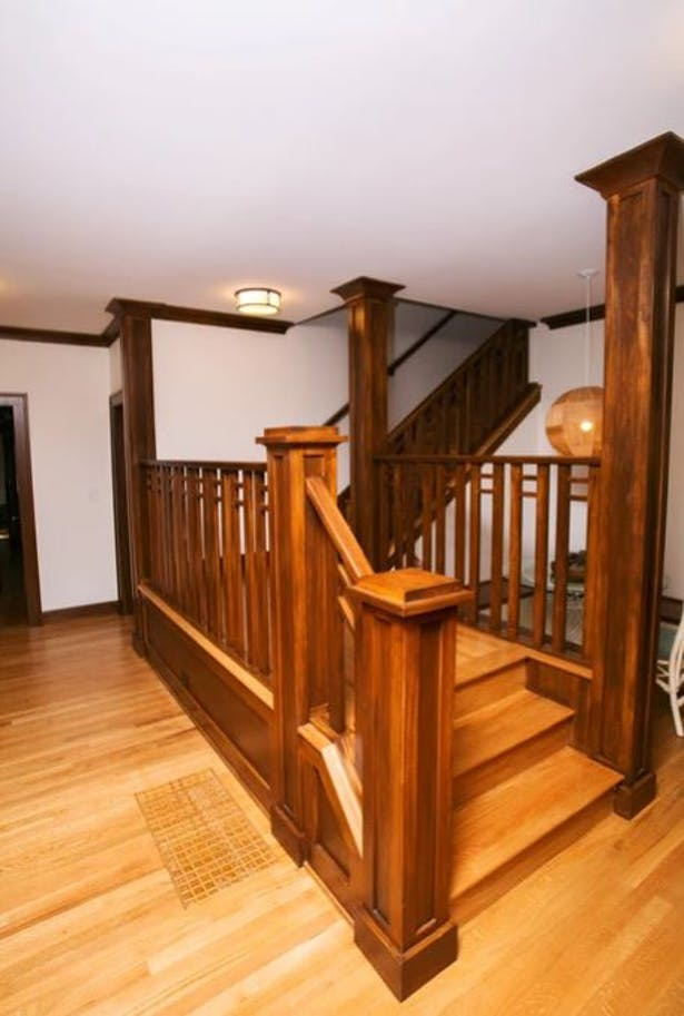 The Craftsman-style stair with built-in breakfast nook is entirely new.