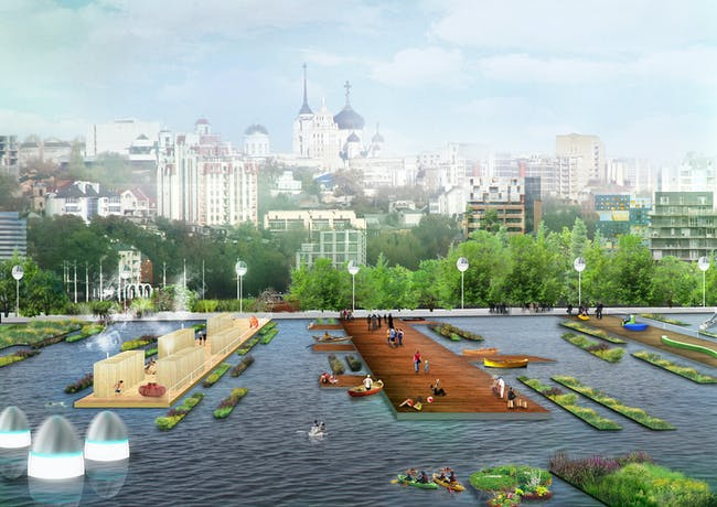 Budcud's winning design for the Voronezh City Reservoir Open Ideas Competition in Russia. Image © Budcud