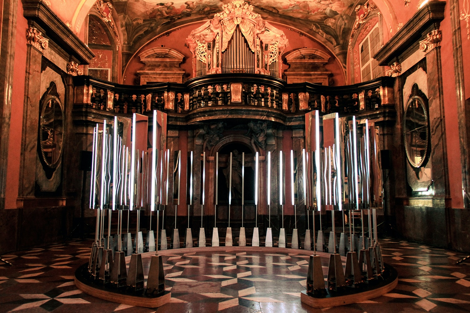 """Looking back at SOFTlab's interactive """"Iris"""" inside the Mirror Chapel in Prague"""