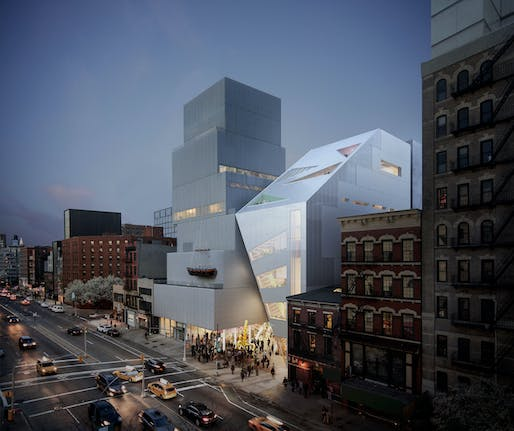 OMA has unveiled designs for a 60,000-square-foot addition to New York City's New Museum. Image courtesy of OMA and Bloom.
