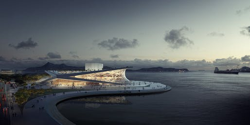 Aerial view of Snøhetta's competition-winning Busan Opera House proposal (Image: MIR)