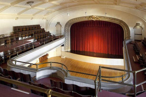 Shear wall was discreetly added to historic auditorium.