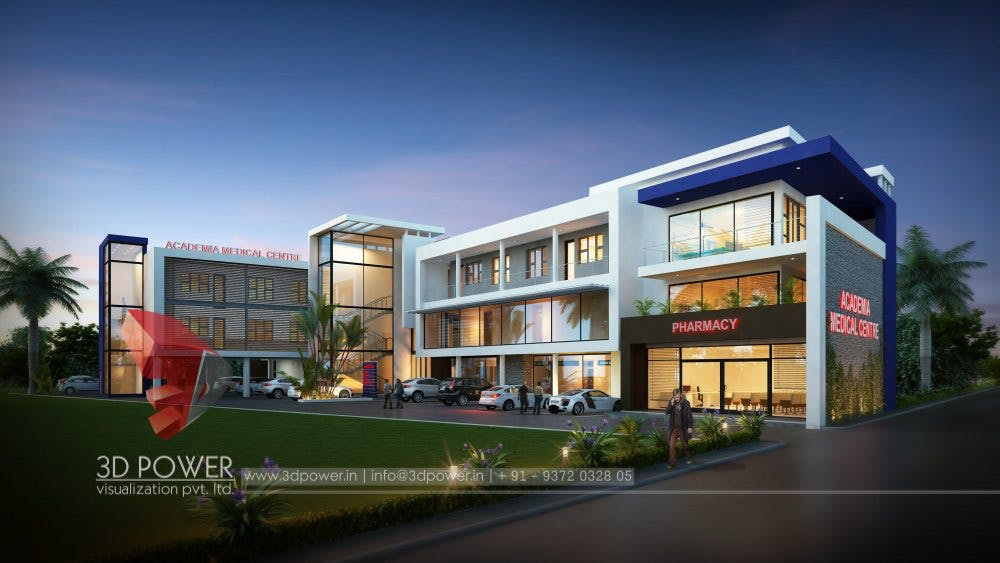 3d corporate office exterior day rendering and elevation for Shopping mall exterior design