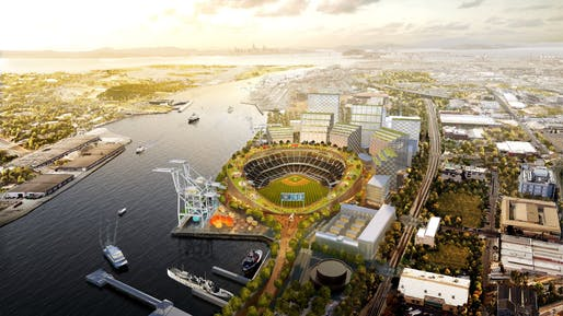 Look mom, no corners! Rendering of the revised Howard Terminal ballpark proposal for the Oakland A's. Image: Bjarke Ingels Group.