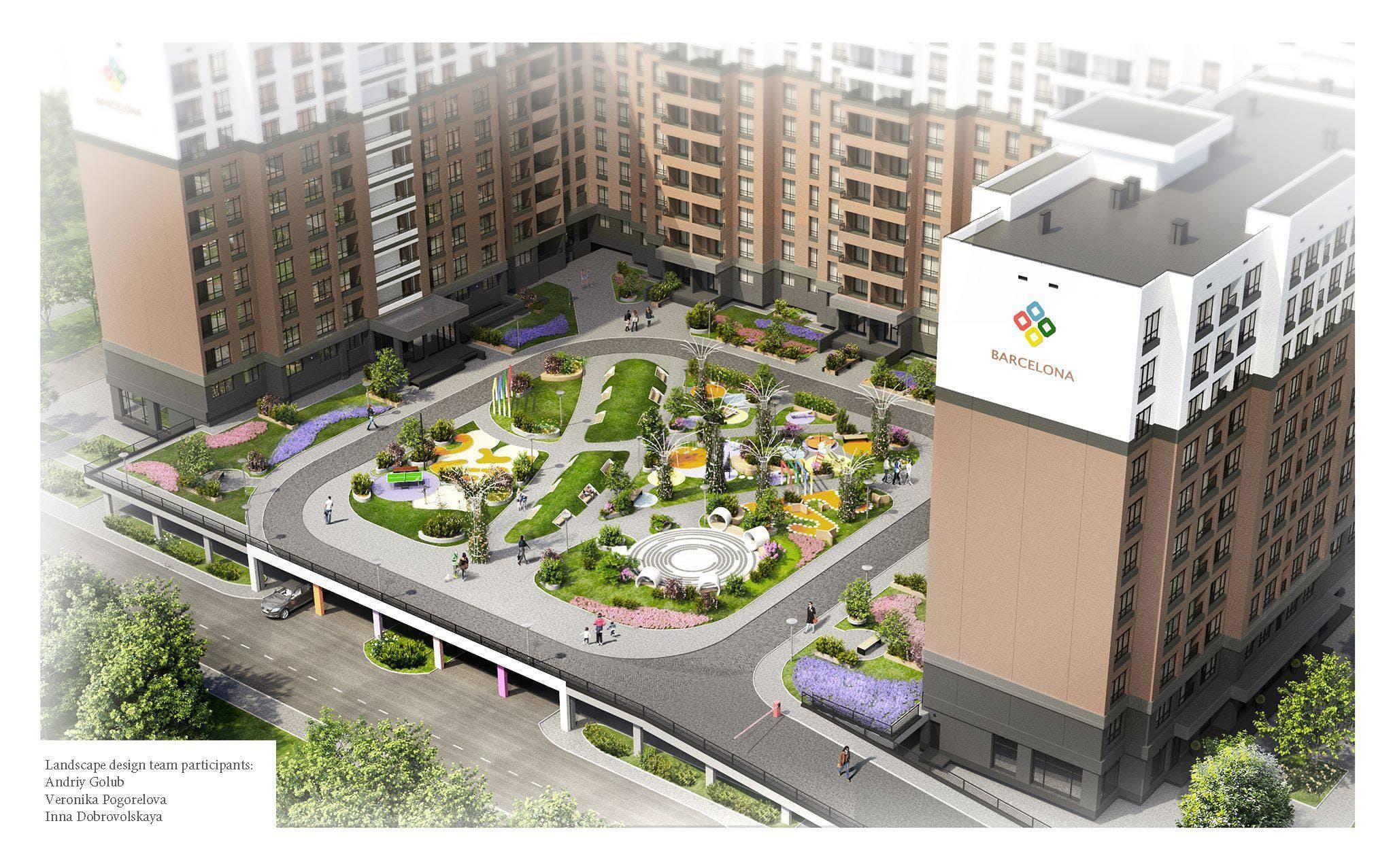 Landscape Design Of Residential Complex Barcelona