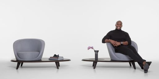 Terry Crews with his Lilypad Collection 2017. Image courtesy of Bernhardt Design