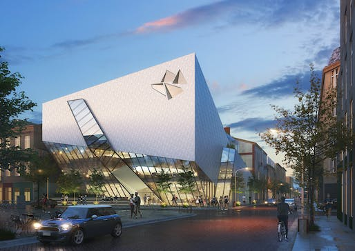 Exterior rendering of the Studio Libeskind-designed Łódź Architecture Center. Image courtesy of Studio Libeskind.