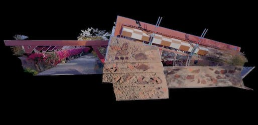 Point cloud image of Frank Lloyd Wright's drafting studio as captured by the BLK360 by Leica Geosystems. Image: The School of Architecture at Taliesin.