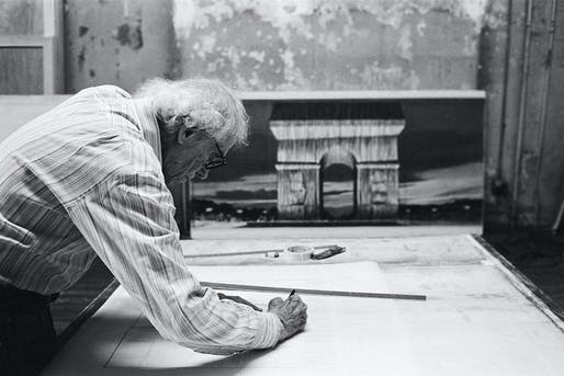 Christo in his studio working on a preparatory drawing for <i>L'Arc de Triomphe, Wrapped</i>. Photo: Anastas Petkov © 2020 Christo and Jeanne-Claude Foundation