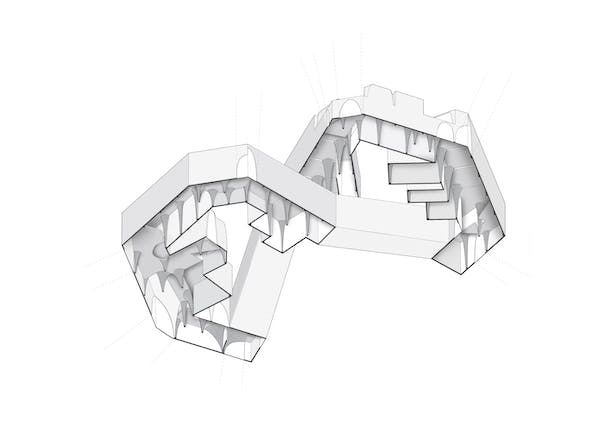 Exploded axonometric showing vaulting system