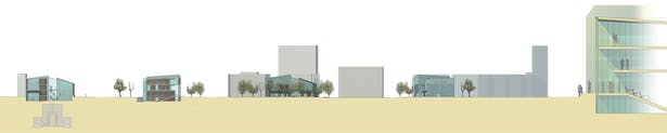 Kulturhus elevations and large section showing the light well wall concept.