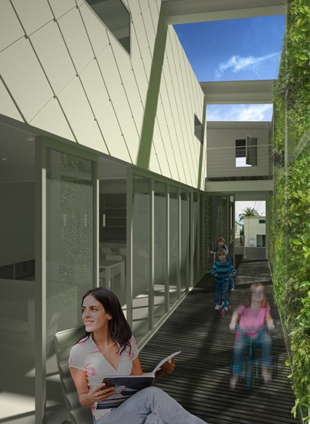 Breezeway / patio with open NanaWall system, facing street entrance