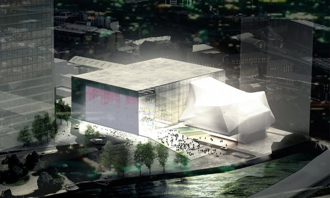 OMA's winning proposal for The Factory in Manchester. Image credit: Bolton Quinn, via The Guardian.