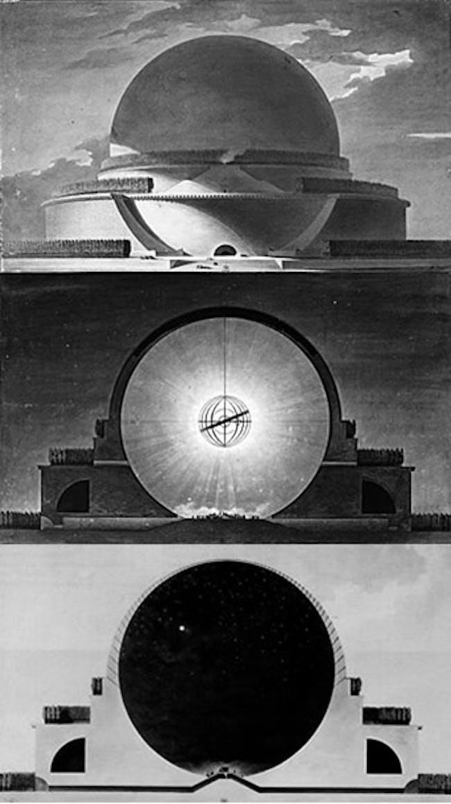 Étienne-Louis Boullée. Newton's Cenotaph. (proposed, never built) via gv2229