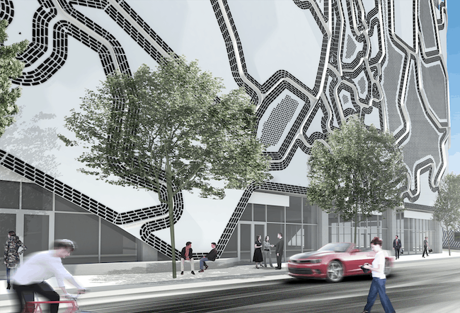Faulders Studio's facade for the Wynwood Parking Garage and Mixed-Use Building (courtesy Faulders Studio).