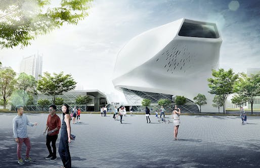 Street view of the Taichung City Cultural Center proposal by Patrick Tighe Architecture