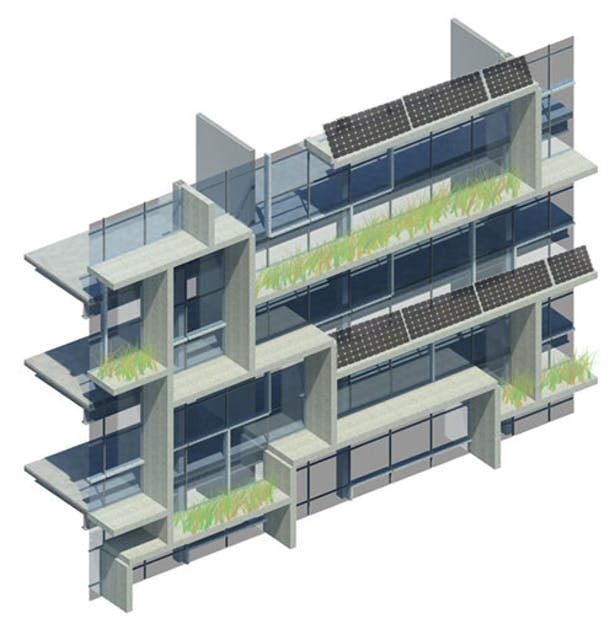 Detailed rendering of facade system