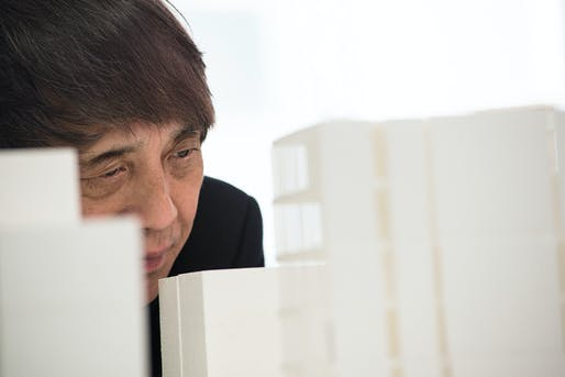 The master himself looking at a model of the proposed NY building. Photo credit: Tadao Ando Architect & Associates