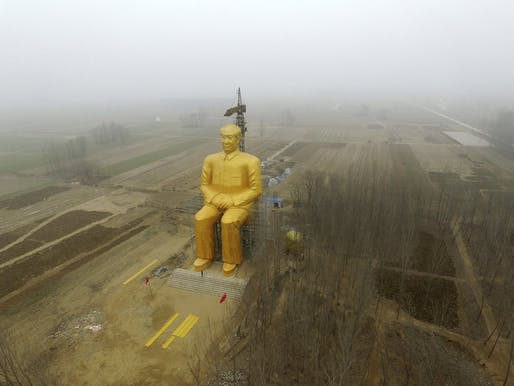 The statue in Tongxu County, China. Demolition is reported to have begun on Thursday, January 7, 2016. Image via npr.org.