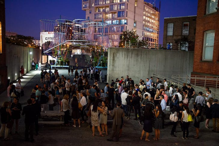 GSAPP Alumni Mixer at MoMA/PS1 with COSMO, GSAPP Professor Andres Jaque's Young Architects Program winning installation in the background. Image courtesy of Columbia GSAPP.