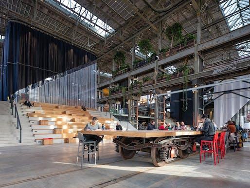 World Building of the Year 2019: LocHal Public Library, Tilburg, the Netherlands by Civic architects (lead architect), Braaksma & Roos Architectenbureau, Inside Outside / Petra Blaisse © Ossip Architectuurfotografie