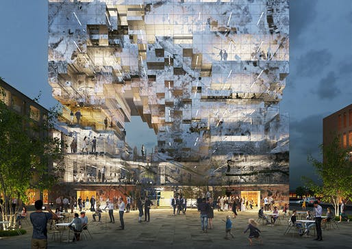 Low resolution: MVRDV's new pixely mixed-used building for Esslingen, Germany. © MVRDV