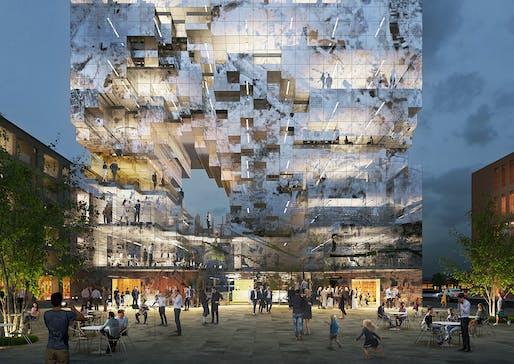 Low resolution: MVRDV's new pixely mixed-used building for Esslingen, Germany. © MVRDV