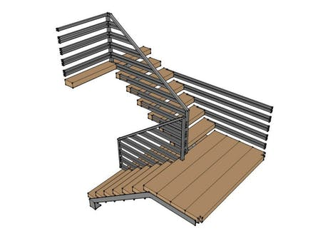 Steel and Timber Stair - detailed model