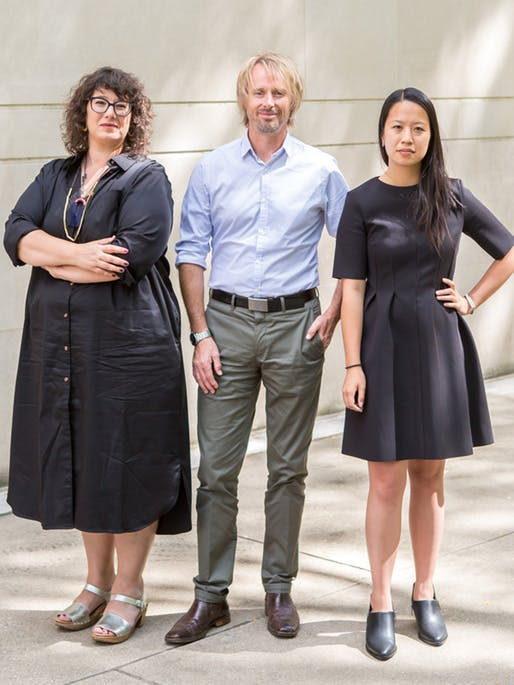 Project curators for the 2018 Venice Biennale U.S. Pavilion: Mimi Zeiger, Assoc. Prof. Niall Atkinson and SAIC Asst. Prof. Ann Lui at the Art Institute of Chicago North Garden. Photo by Nancy Wong.