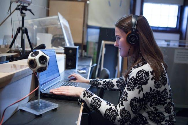 Rebecca Elder working in the architecture acoustics lab.
