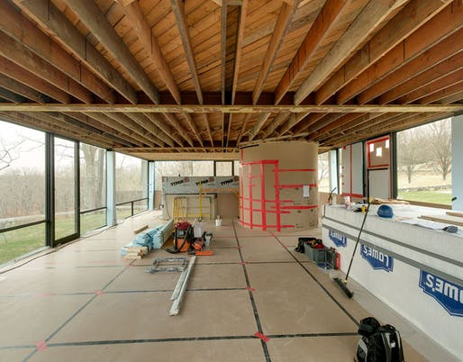 Glass House ceiling with plaster removed, prior to lath and mesh installation. Photo by Michael Biondo