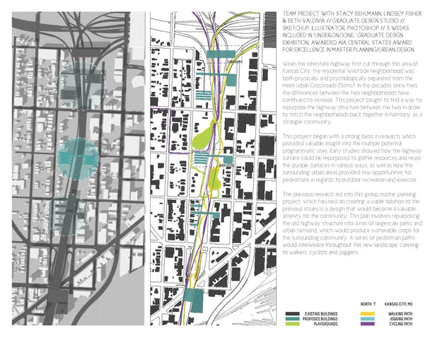 Left: Site plan highlighting main design interventions within the urban fabric. Right: Site plan showing various path types and new constructions.