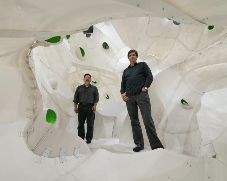 "Scott Uriu (left) and Herwig Baumgartner (right) in B+U's ""Apertures"" installation at the SCI-Arc Gallery, 2014. Photo: Joshua White"
