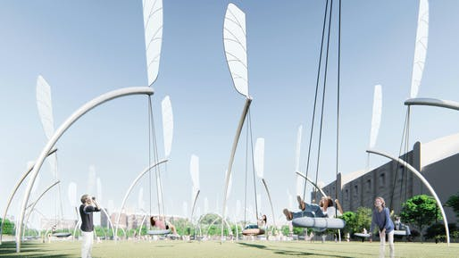 """Swings"", A submission to the Land Art Generator Initiative (LAGI) 2018 Competition for Melbourne. TEAM: Lu Chao, Weng Shenxia TEAM LOCATION: Guangzhou, China ENERGY TECHNOLOGIES: thin-film photovoltaic, kinetic wind harvesting (with human assist) ANNUAL CAPACITY: 1,200 MWh"