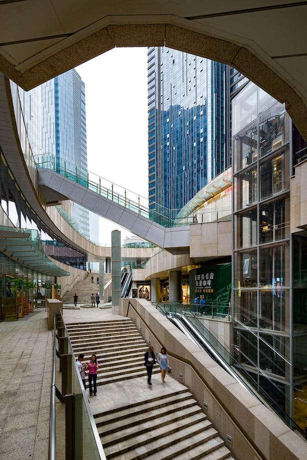 Evergrande Huazhi Plaza, Chengdu, China, by Aedas - Outdoor escalators and staircases linking up different levels of The ONE