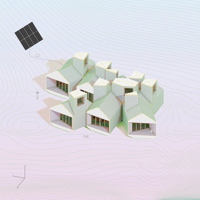 MOS Architects. Museum of Outdoor Arts Element House, Las Vegas, New Mexico. 2008—13. Axonometric view. Digital C-print, 18 x 18″ (45.7 x 45.7 cm). The Museum of Modern Art, New York. Gift of the architects. © 2014 MOS Architects