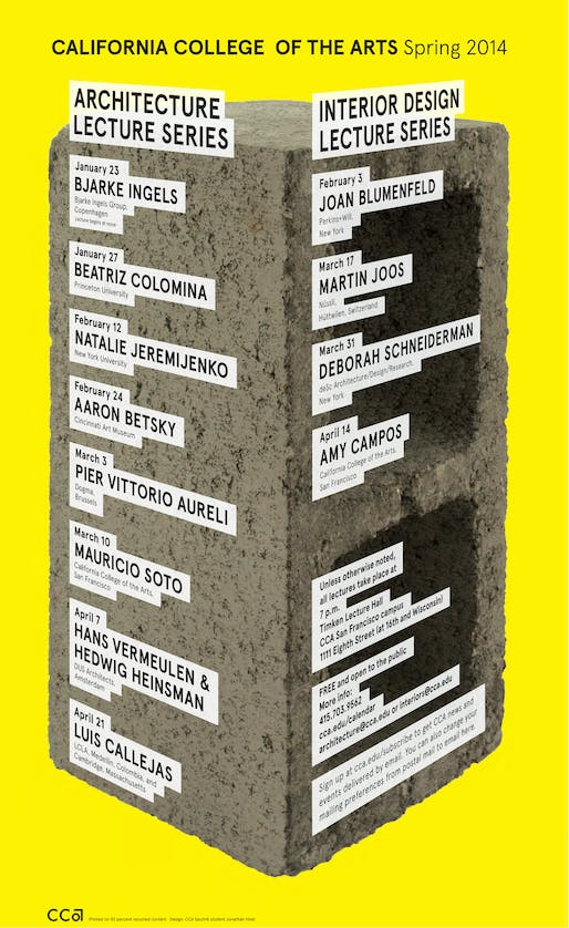 CCA's Spring '14 Architecture and Interior Design Lecture Series. Image courtesy of CCA Architecture Division.