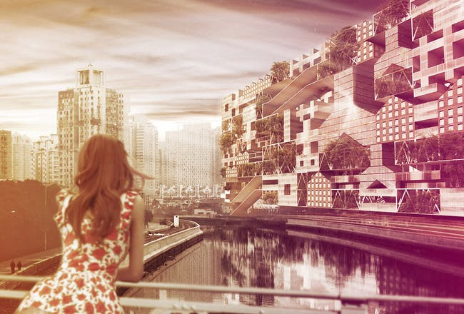 Eye-level view of a FLIP/CITY cluster inserted in Shanghai's cityscape (Image: PinkCloud.dk)