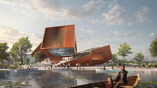 "Entrance view, ""Centre Culturel"" cinema by UNStudio. Image © Flying Architecture."