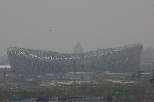 Smog obscures Heurzog & de Meuron's 'Bird Nest'. Image via wikimedia.org