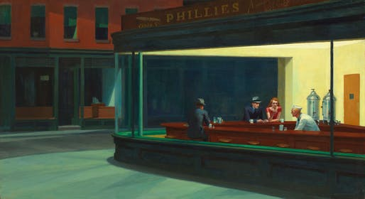 Nighthawks by Edward Hopper, on display at The Art Institute of Chicago